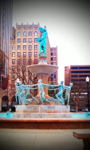 A graceful fountain in Downtown Indianapolis