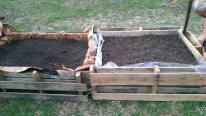 Completed pallet raised garden bed